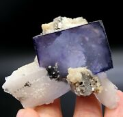 Transparent Purple Fluorite And Arsenopyrite Crystal Mineral Specimen/china A015