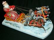 Wow Very Detailed Hand Carved Troika - Santa's Sleigh Pulled By 3 Horses 1905