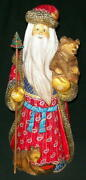 Very Tall Handpainted Bright Red Blue And Gold Santa W/ Sweet Russian Bears 7227