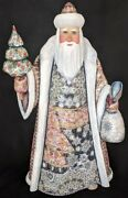 Wow Gorgeous Hand Painted Red And Grey Russian Santa Claus W/christmas Tree 5311