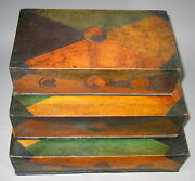 A Korean Fine Paper Marche 3 Stacking Sewing Boxes-19th C.