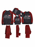Family Matching Christmas Pajamas Set Father Mother Baby Kid Plaid Home Suit