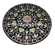 36 Black Marble Dining Table Tops Precious Floral Inlay Outdoor Decorative B089