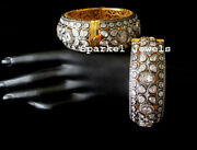 Natural Diamond And Polki 925 Sterling Silver 2 Pieces Victorian Bangle Jewelry