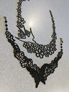 2 Black Chokers Or Bibs Butterfly And Bird. Unique Tattoo Look Exc Cond And Value