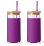 20oz Glass Tumbler Glass Water Bottle Straw Silicone Protective Sleeve Bamboo L