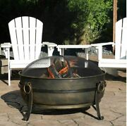 Large Outdoor Wood Burning Fire Pit Bowl Round Steel Bronze Backyard Fireplace