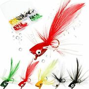 25 Pieces Dry Fly Fishing Popper Kit Bass Poppers Files For Trout Fly Fishing