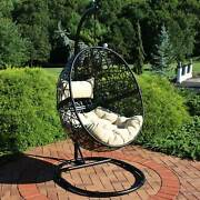 Sunnydaze Beige Jackson Hanging Basket Egg Chair Swing With Stand - Resin Wicker