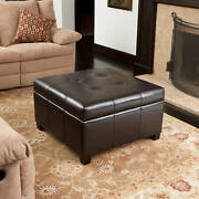 Leather Storage Ottoman Oversized Square Leather Pouf Ottoman Chair Brown