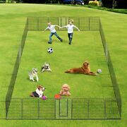 Dog Playpen Pet Pen Exercise Kennel Camping Barrier Fence Cage 32 Panel 32x48
