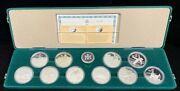1988 Calgary Winter Olympics Sterling Silver Proof 10 Coin Set In Box With Coa