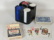 Vintage Hoyle Poker Chip Carousel With Chips And Deck Of Jumbo Face Cards