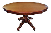Antique 19th C English Victorian Carved Exotic Wood Loo Breakfast Center Table