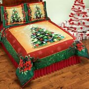 3 Pc Lighted Christmas Tree Comforter Set W/shams Queen/full/king Holiday Decor