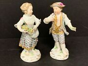 18th C Meissen German Porcelain Pair Couple Boy And Girl Figurines 5.5 High