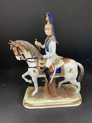 Antique German Porcelain Officer On Horseback 11andrdquo H X 8andrdquo W Imperial Guard