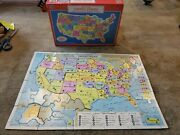 Vintage Milton Bradley Map Of The United States And World Map Puzzle 1988 Usa