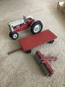 Vintage Hubley Ford Tractor With Trailer And Tiller 112 Scale