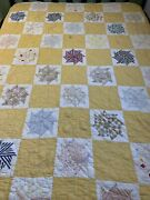 Vintage Quilt Pin Wheel 65x73 Hand Quilted Display Cutter Repurpose