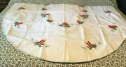 Christmas Oval Tablecloth 110x65 White Candles Embroidered Applique 12 Napkins