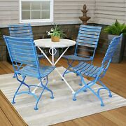 Sunnydaze Cafe Couleur 5pc Shabby Chic Wood Folding Table And Chair Set - Blue