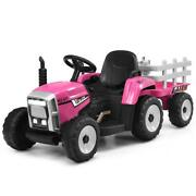Kids Ride On Tractor Toy Car With Trailer Ground Loader With Rc And Lights Pink
