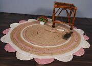 Handmade Round Scalloped Round Carpet Rug Hallway Rug Beige And White/pink Color