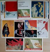19pcs Vintage Cards Wwii Military Posters Soviet Red Army Ww2 Propaganda Satire