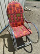 Vintage Psychedelic 1960's Chrome Rocking Chair- Midcentury Thonet Style