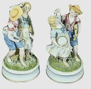 Vintage Bisque Porcelain Figurines Mirror Image Boy And Girl With Instruments