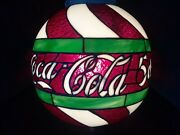 Rare Coca-cola Leaded Stained Glass Ceiling Light Fixure