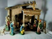 Vintage Christmas Nativity Manger Set Figurines Sears+ Extras Made In Italy