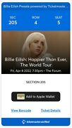 Billie Eilish World Tour And Willow Inglewood, Ca The Forum Apr 8 2022 2 Tickets