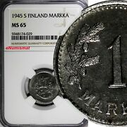 Finland Iron 1945 S 1 Markka Wwii Issue Ngc Ms65 Top Graded By Ngc Km 30b 029
