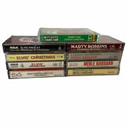 Lot Of 9 Country Rock N Roll Cassettes Johnny Cash Merle Haggard Elvis Presley