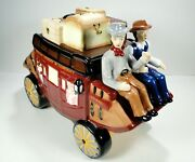 Wells Fargo And Company Stagecoach Wagon Ceramic Cookie Jar Fast Shipping