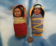 Vintage Skookum Dolls Indian Papoose Baby Boy And Girl Doll Very Good Examples