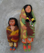Skookum Bully Good U.s.a. Indian Doll Women And Child Lot Of Two Dolls