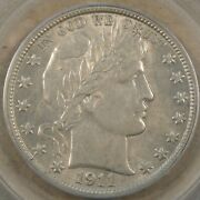 1911-s/s Fs-501 Barber Half Dollar 50c Pcgs Certified Au53 Pop 1 With 2 Higher A