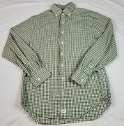 Vineyard Vines Mens Button Front Murray Shirt Classic Green Gingham Check Small