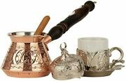 6 Pcs Turkish Greek Coffee Set For 1 With Engraved Copper Pot Copper And Silver