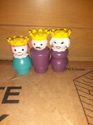 Vintage Fisher Price Little People Wood Purple King,queen,princes For Castle 993