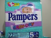 Vintage Pampers Baby Dry Stretch Plastic Diapers - Size 5 - 22 Ct