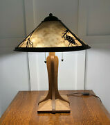 Mica Lamp Company Pasadena Pine Tree Table Lamp, Coppersmith Collection, Mint