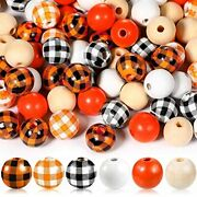 180 Pieces Craft Wood Beads Buffalo Plaid Print Wooden Beads Chic Color