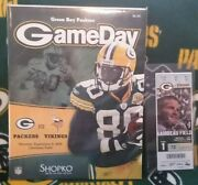 2008 Aaron Rodgers 1st Start Game Program And Ticket Green Bay Packers