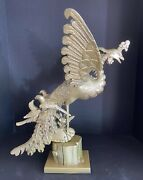 Asian Hand Carved Wooden Phoenix With Baby Birds 17.5 High