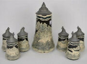 """19th C German Beer Stein 14"""" With 6 Mugs 7"""" Hunting Theme Dogs"""