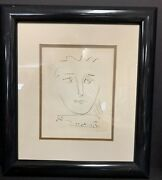 Pablo Picasso Face Sketch Signed Lithograph 19 X 17 Framed